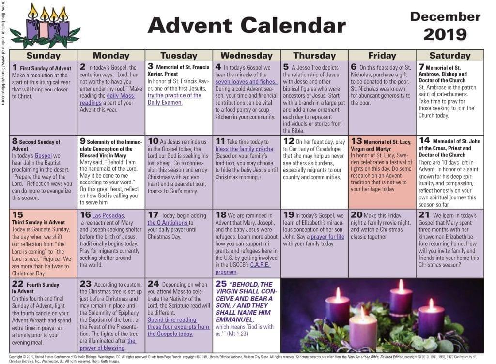Sacred Heart Catholic Church of Pinellas Park Advent Calendar